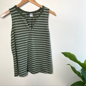 Old Navy green striped linen blend tank top small